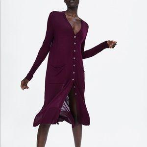 Zara burgundy long cardigan
